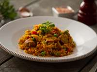 Recipe: Rice with Chicken Chorizo Sausage, Fish and Vegetables (Paella)