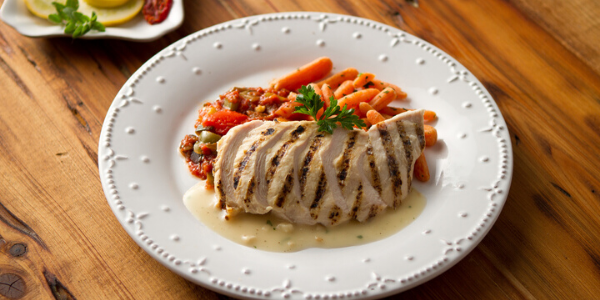 Grilled Chicken with Roasted Garlic Veloute Sauce Recipe