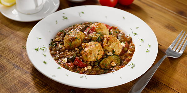 Chicken & Feta Meatballs with Lentils Recipe