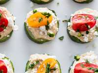 Roasted Garlic Hummus in Cucumber Cups