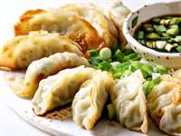 Vegetable Potstickers with Tangy Soy Garlic Sauce